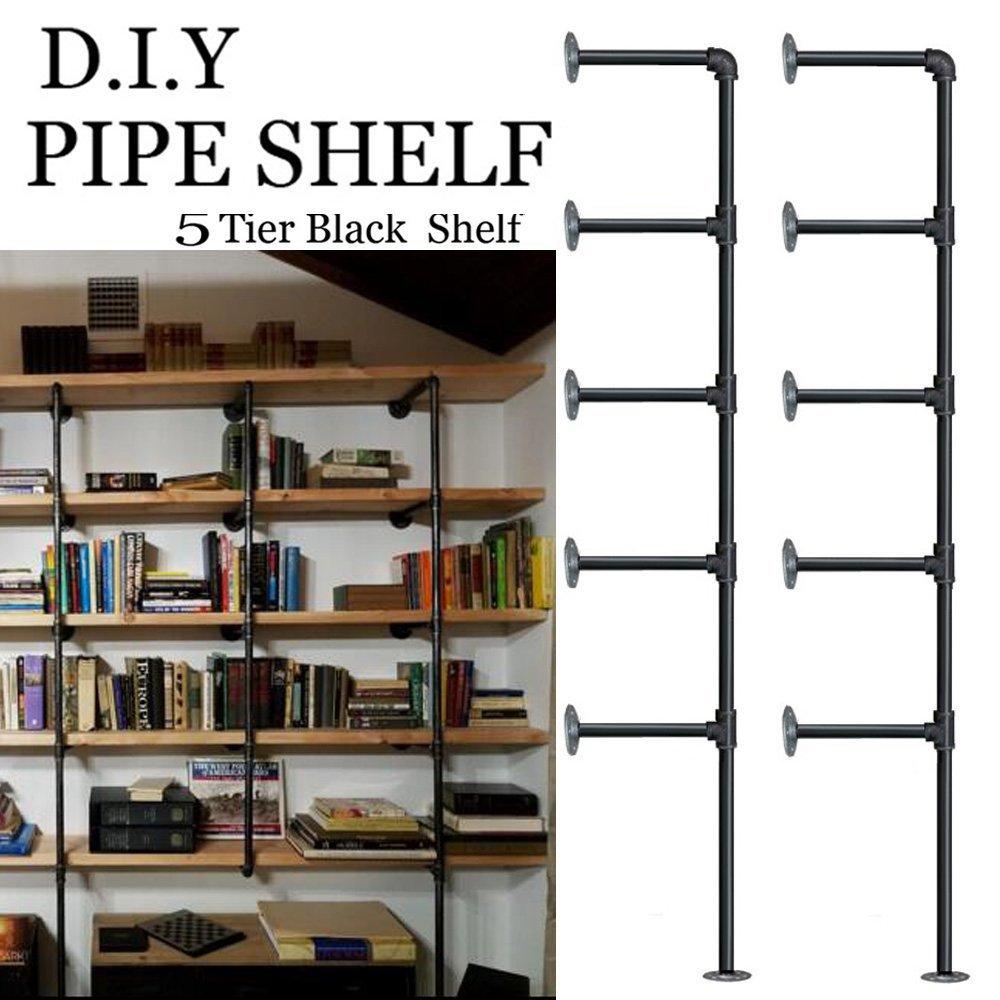 FOF Industrial Retro Wall Mount Iron Pipe Shelf,DIY Open Bookshelf,Hung  Bracket,Home Improvement Kitchen Shelves,Tool Utility Shelves, Office  Shelves,