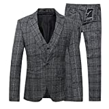 Product review for Mens 3-Piece Suit Plaid Modern Fit Single Breasted Smart Formal Wedding Suits