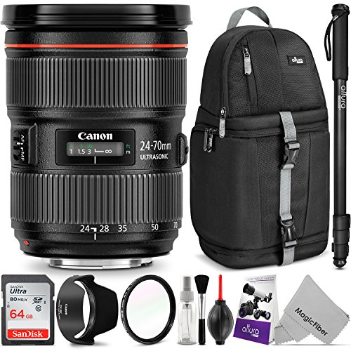 Canon EF 24-70mm f/2.8L II USM Standard Zoom Lens w/Advanced Photo and Travel Bundle – Includes: Altura Photo Sling Backpack, Monopod, UV Protector, Camera Cleaning Set