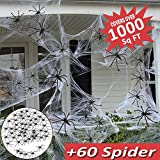 Halloween Decorations Outdoor 1000 Sq Ft Spider Web Decorations,Large Spider Web Stretch Mega Spider Silk with 60 Fake Spider for Outdoor Indoor Halloween Wall Garden Party Favor Decor