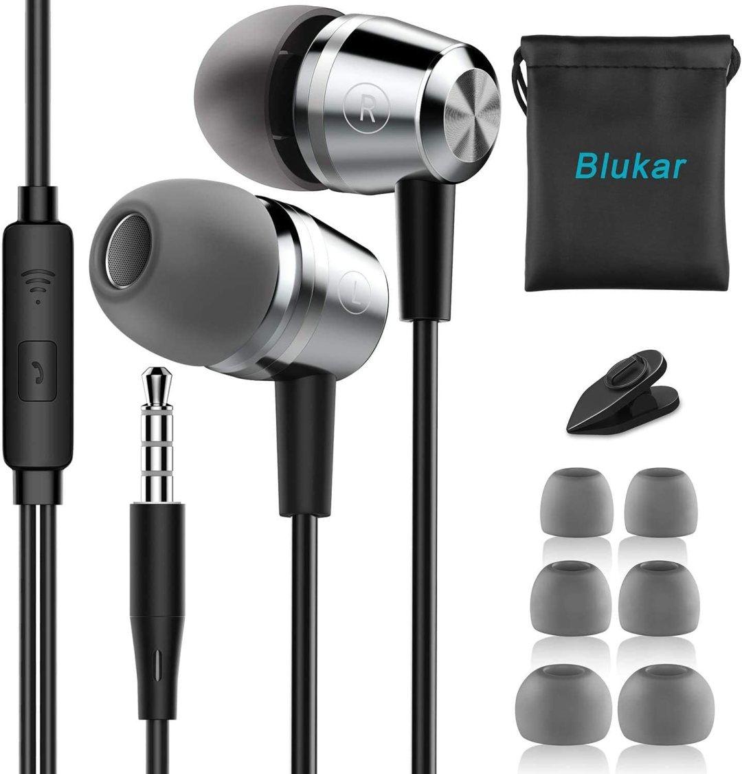 Écouteurs Intra-Auriculaires, Blukar Oreillettes Intra-Auriculaires Filaires Anti-Bruit Casque Ergonomique Stéréo avec Microphone pour iPhone, Smartphones Android et MP3 etc.
