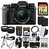 Fujifilm X-T2 4K Wi-Fi Digital Camera & 18-55mm XF Lens with 64GB Card + Case + Flash + 2 Batteries & Charger + Tripod +Tele/Wide Lens Kit
