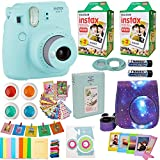Fujifilm Instax Mini 9 Camera + Fuji Instant Instax Film (40 Sheets) Includes Galaxy Camera Case + Assorted Frames + Photo Album + 4 Color Filters and More Top Accessories Bundle (Star Ice Blue)