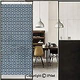 Moroccan 3D Decorative Film Privacy Window Film No Glue,Frosted Film Decorative,Azulejo Tile Pattern Diagonal Ceramic Pattern Arabesque Star Design Ornament Decorative,for Home&Office,17.7x59Inch Dark