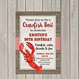 Crawfish Boil Low Country Boil Birthday Party Invitation, Set of 10 invitations with white envelopes