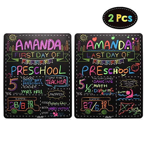 Personalized First Day and Last Day of School Sign 13' x 16' Large Chalkboard Style Photo Prop Back to School Supplies - 2 Pcs