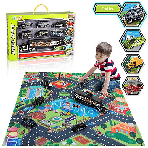 TEMI Diecast City Police Car Toy Set w/ Play Mat, Truck Carrier, SWAT Helicopter, Patrol Car, Armored Vehicle, Ladder Truck, SWAT Chariot, Alloy Metal Military Vehicle Play Set for Kids, Boys & Girls