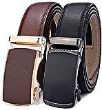 Mens Belt,Bulliant Leather Ratchet Click Belt for Men Father's Gift,Size Adjustable,2 Units Gift-Boxed