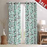 Hengshu Modern Waterproof Window Curtain Retro 60s 70s Vintage Geometrical Circles Dots Points Ombre Image Decorative Curtains for Living Room W96 x L108 Inch Teal Turquoise Hunter Green