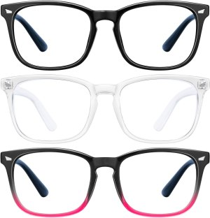 Blue Light Blocking Glasses – 3Pack Computer Game Glasses Square Eyeglasses Frame, Blue Light Blocker Glasses for Women Men, Anti Eye Eyestrain Reading Gaming Glasses Non Prescription