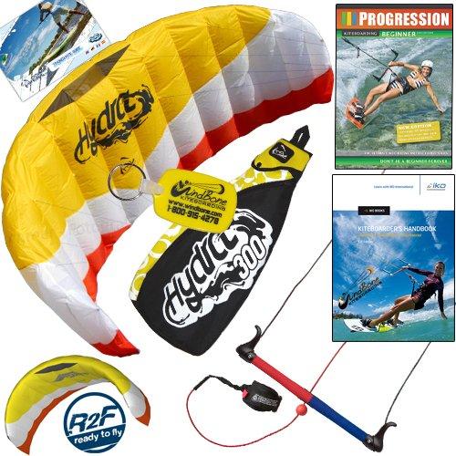 HQ Hydra 300 V2 Kiteboarding Trainer Kite Bundle Including Progression Beginner Kitesurfing Instructional DVD & IKO Student Handbook Power Foil Traction Land Snow Water Kiting