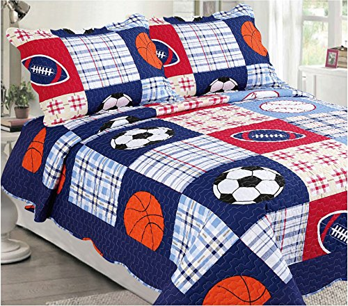 Mk Collection Bedspread set Boys Sport Football Basketball Baseball Dark Blue (Full)