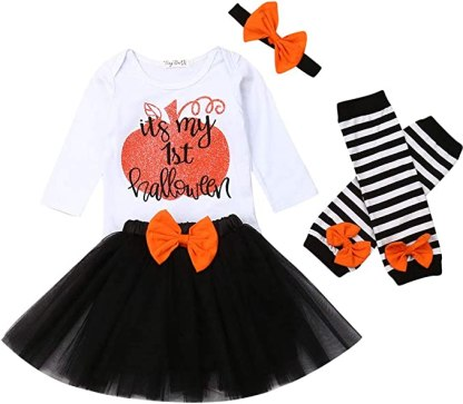 iBccly Baby Girl Tutu Skirt Outfit Letter Romper T-Shirt + Lace Skirt + Bow Headband+Leg Warmers Cake Smash Dress Clothes Set