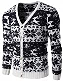 Product review for Jaycargogo Mens Slim Fit Floral Print Christmas Button Up Knitwear Sweater