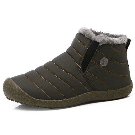 SITAILE Snow Boots, Women Men Fur Lined Waterproof Winter Outdoor Slip On Boots Ankle Snow Booties, Grey-Ankle high 39