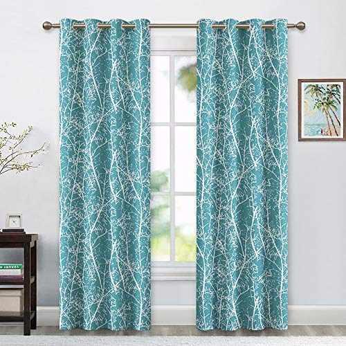 RYB HOME Decor Farmhouse Natural Graphic Curtains for Garden/Patio Sliding Glass Door, Washable Thermal Block Light Shade for Home Theater/Villa/Cottage, 52 inch Wide x 95 inch Long, 2 Pcs, Teal