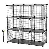 SONGMICS Metal Wire Cube Storage,9-Cube Shelves Organizer,Stackable Storage Bins, Modular Bookcase, DIY Closet Cabinet Shelf, 36.6'L x 12.2'W x 36.6'H, White ULPI115W