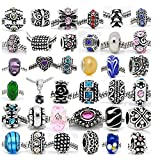 SEXY SPARKLES (20 Beads Mix) Pack of Assorted Silver Tone Charms, Rhinestones Bead Charms, Murano Glass Beads and Spacers