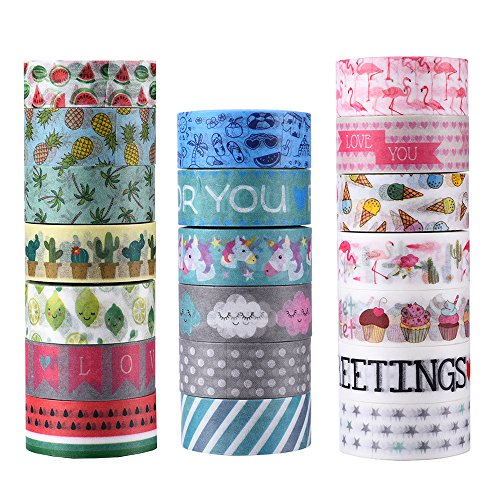 AGU 20 Rolls Washi Tape Set, Decorative Adhesive Tape for DIY Crafts,Beautify Bullet Journals ,Planners