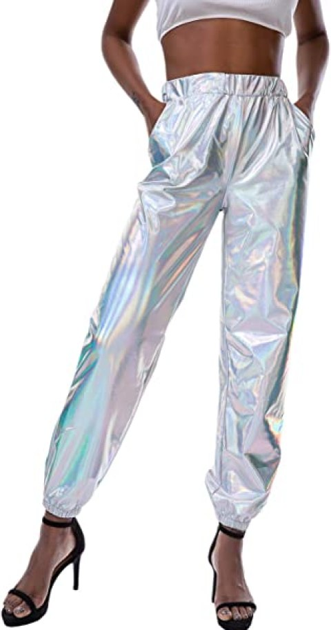 Mocure Shiny Metallic Sweatpant Holographic Jogger Pants Tapered Pant with Pocket for Women
