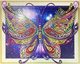 Diamond Painting Kits for Adults by Heartful Diamonds - Galaxy Butterfly - 40x50cm (16x20 in) - 5D Round Partial Drill Art - Birthday, Anniversary, Christmas Gift Home Living Bed Room Decor (LP018)