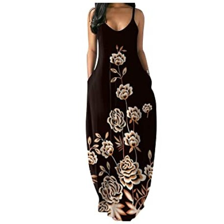 5 Summer Dresses You Need To Buy- Buy FRSH MNT OTTATAT Dresses for Women Casual Summer Spaghetti Strap Sexy V-Neck  Loose Plus Size Long Maxi Dress with Pocket Online in Indonesia.