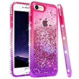 iPhone 6s/6 Case, iPhone 7 Case, iPhone 8 Glitter Case, Ruky [Gradient Quicksand Series] Flowing Liquid Floating Bling Diamond Flexible TPU Girls Women Phone Case for iPhone 6/6s/7/8 (Pink/Purple)