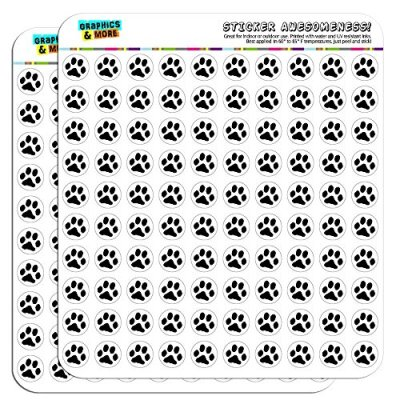 "Paw Print Pet Dog Cat 1/2"" (0.5"") Planner Calendar Scrapbooking Crafting Stickers - Clear"