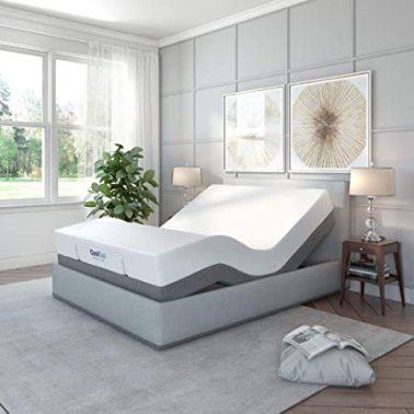 Classic Brands Adjustable Comfort Upholstered Adjustable Bed Base with Massage, Wireless Remote, Three Leg Heights, and USB Ports-Ergonomic Twin XL