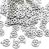 Pomeat 100 Silver Tone Pentagram Charms Pendants (20x16mm)