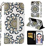 Case for iPhone 7 Plus/8 Plus,3D Printing PU Leather [Kickstand] Wallet Case Card Holder Inner TPU Bumper with Magnetic Closure & Wrist Strap Compatible with Apple iPhone 7 Plus/8 Plus -Sun Flower