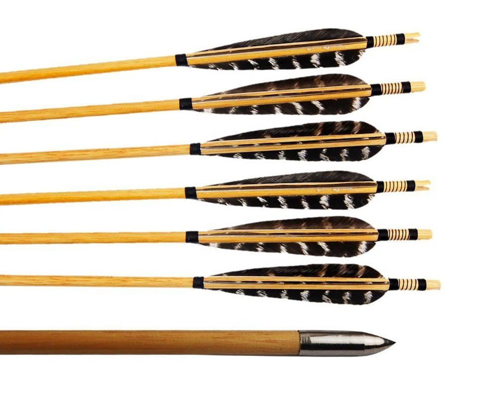 Hunting door 12 Pcs Turkey Feather Fletching Wooden Target Arrows