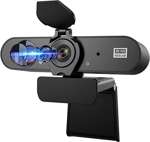 Webcam with Microphone, Aufixy 2K Full HD Webcam with Privacy Protection Webcams Suitable for Video Conference Calls and Online Course Learning Comes with a Tripod, Out of The Box