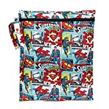 Bumkins DC Comics Superman Waterproof Wet Bag, Washable, Reusable for Travel, Beach, Pool, Stroller, Diapers, Dirty Gym Clothes, Wet Swimsuits, Toiletries, Electronics, Toys, 12x14