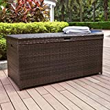 Outdoor All Weather Brown Resin Wicker 100 Gallon Deck Box Storage for Pool Patio 52L x 25W x 25H inches.