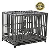 LUCKUP Heavy Duty Dog Cage Strong Metal Kennel and Crate for Medium and Large Dogs, Pet Playpen with Four Wheels,Easy to Install,42 inch,Black