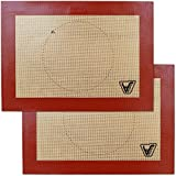 Velesco Silicone Baking Mat for Toaster Oven - Set of 2 mats (Size 7 7/8' x 10 13/16') - Non Stick Silicon Liners for Sheets, Trays & Pans - Pizza/Hot Dog/Sandwich/Cookie Making - Professional Grade