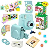 Fujifilm Instax Mini 9 Camera + Fuji INSTAX Instant Film (40 SHEETS) + 14 PC Instax Accessories kit Bundle, Includes; Instax Case + Album + Frames & Stickers + Lens Filters + MORE (Ice Blue)