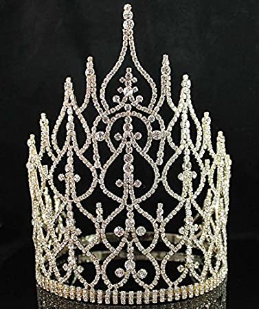 Amazon Com Beauty Queen Crown Tiara Clear Austrian Rhinestone Crystal Pageant T1413g Gold Beauty