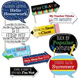 Big Dot of Happiness Funny Classic Back to School - First Day of School Decorations and Photo Booth Props Kit - 10 Piece