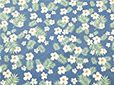 TAOSON 100% Cotton 300 Thread Count Body Pillow Cover Pillowcase Pillow Protector Cushion Cover with Zippers Only Cover No Insert (011 Royal Blue Flower Leaves,21'x54') Fits 20 x 54