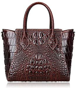 fb77307768a PIJUSHI Embossed Crocodile Handbags for Ladies Designer Purses Top Handle  Shoulder Bag (6082 Red)