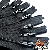7' Black 12 YKK Zippers for Sewing Crafts- #3 Nylon Closed Bottom- Made 100% in USA- 12 YKK Zippers