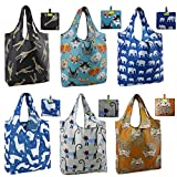 Reusable Grocery Bags 6 Pack Cute Animal Shopping Bags Bulk X-Large 50Lbs Machine Washable Ripstop Nylon Foldable Bags with Pouch Reusable Bags for Groceries Elephant Cat Hedgehog Giraffe Alpaca Dog