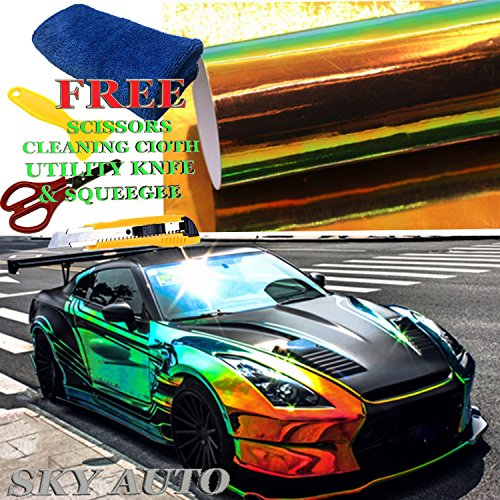 Sky Auto INC Holographic Rainbow BLACK Neo Chrome Car Vinyl Wrap Sticker Decal Film Sheet Free Air Bubble + Free Cutter, Cleaning cloth, Scissors & Squeegee (36' x 54'/3ft x 4.5ft)