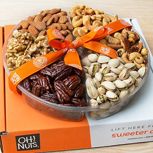 Oh! Nuts Holiday Gift Basket, Roasted Nut Variety Fresh Assortment Tray, Christmas Gourmet Food Prime Thanksgiving Delivery Idea for Men & Women Get Well Sympathy Fathers Mother & Valentines Day