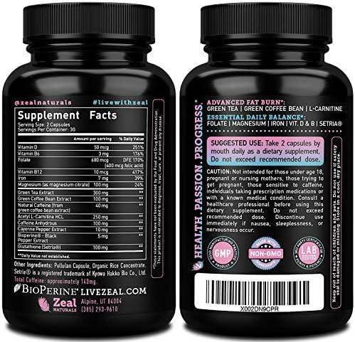 Weight Loss Pills for Women + Daily Balance Vitamins (Iron, Vitamin D, Setria®, Folate,+) Premium Diet Pills for Women + Womens Multivitamin with Iron, D & B Vitamins & Hormone Balance for Women 4