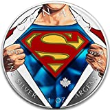 2016 CA BU Canada 5$ Superman 1 oz Colored Shirt Precious Bullion 999 Silver Coin $5 Uncirculated BM