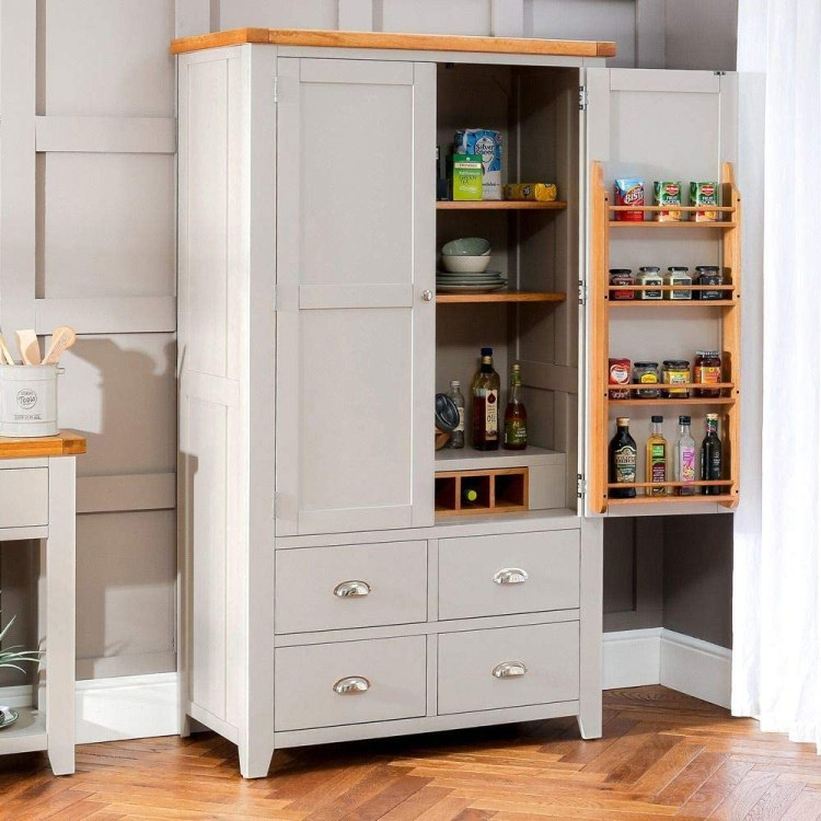 The Furniture Market Downton Grey Painted Kitchen Larder Pantry Cupboard Amazon Co Uk Kitchen Home