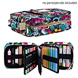 Pencil Case Holder Slot -Holds 202 Colored Pencils or 136 Gel Pens with Zipper Closure - Large Capacity Pen Organizer for Watercolor Pens & Markers | Perfect Gift for Students & Artist Blossom
